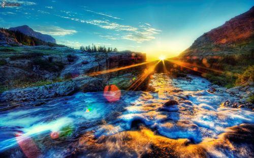 beautiful colorful landscape, mountain stream 150886 (1)