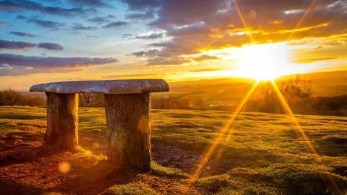 Log Bench Viewing A Wonderful Sunrise HD Desktop Background