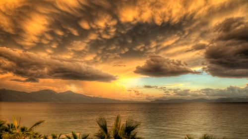 A storm at last light in Kusadasi, Turkey