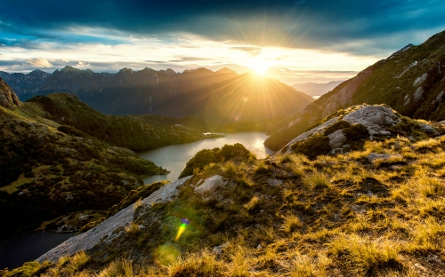 Unique sunrise view in the mountains of Fiordland, New Zealand.